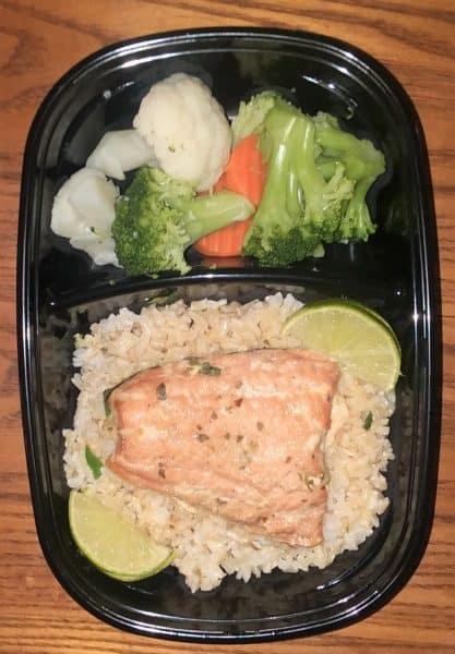 meal prep fish, salmon, brown rice
