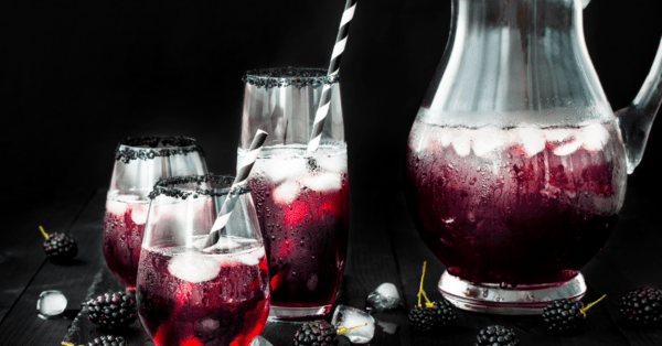 blackberry and pomegranate drink in cups