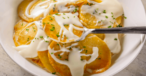 scalloped potatoes in a bowl