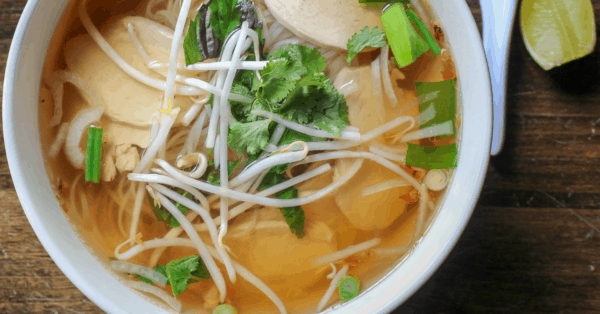 chicken pho soup in a bowl