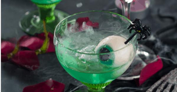green Halloween zombie drink with eyeball