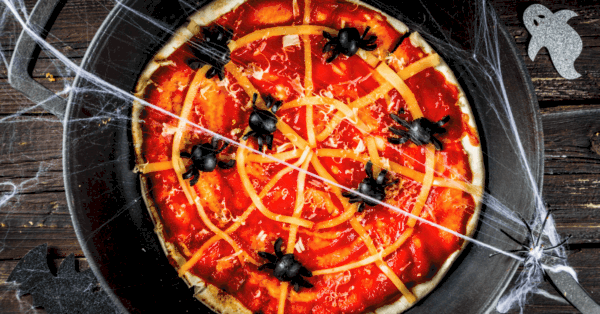 Halloween pizza with spiders