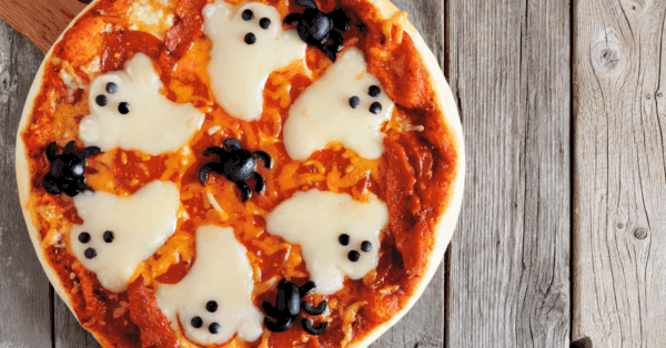 halloween pizza with ghosts on top