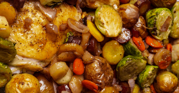 chicken casserole with potatoes and brussels sprouts