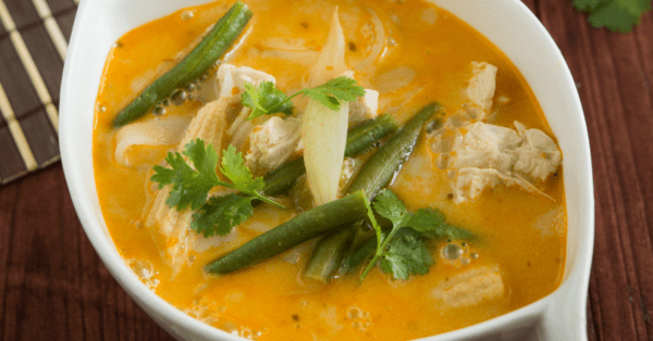 red curry soup in a bowl