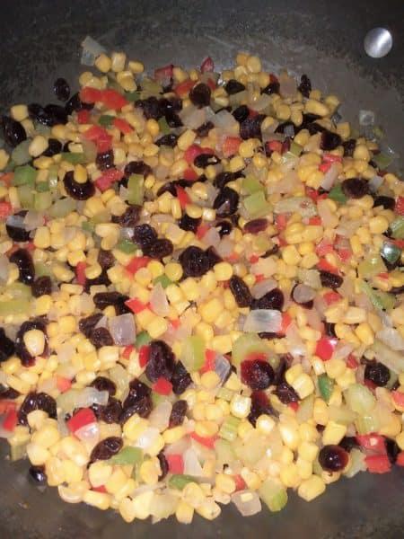 canned corn, raisins, cranberries, celery, onions