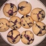 blueberry muffins in a plate