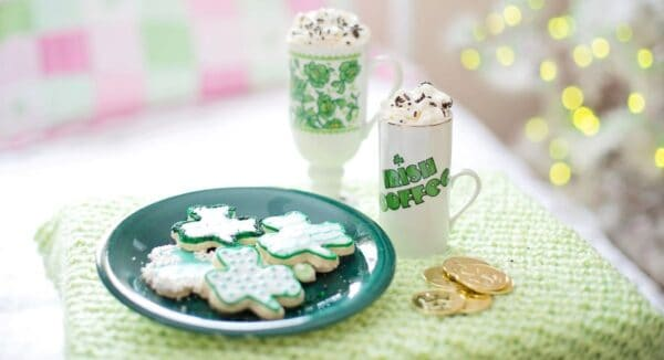 St. Patrick's day cookies with coffee