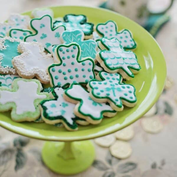 St. Patrick's day cookies on a plate