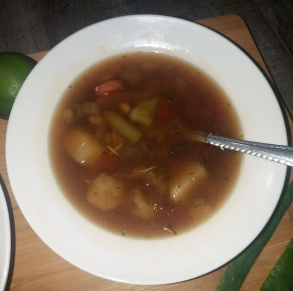 vegetable soup in a bowl