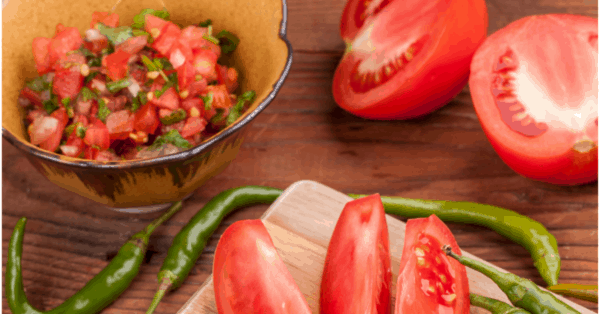 tomatoes, peppers, salsa