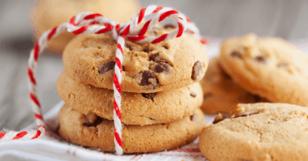 chocolate chip cookies with a gift box