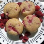 raspberry muffins on a plate