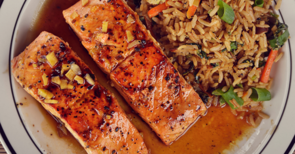 salmon and fried rice