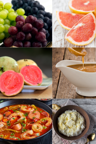grapes, grapefruit, guava, gravy, gumbo and grits