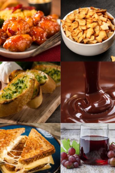 general tso chicken, goldfish cracker, garlic bread, chocolate, grilled cheese sandwich, grape juice