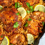 chicken and rice in pan